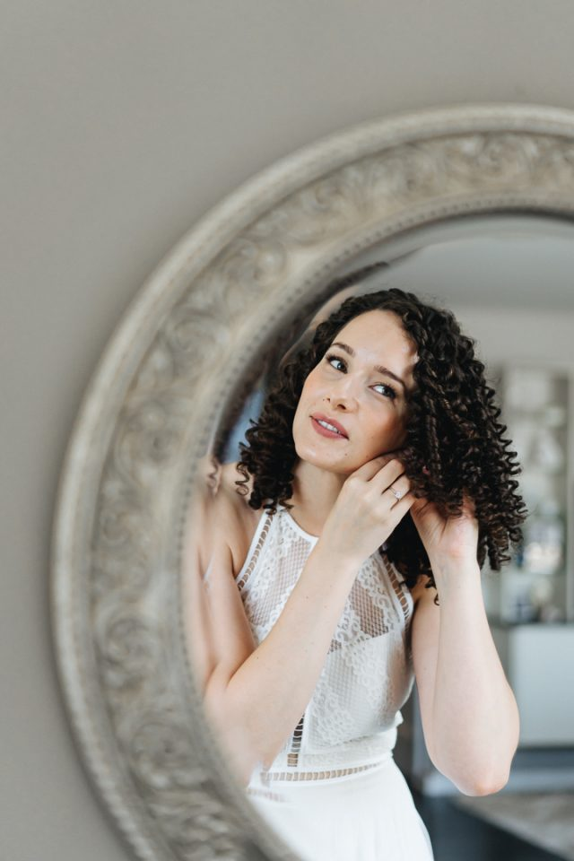 Kelsey - The Bride in front of the mirror